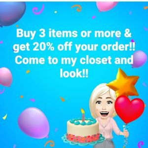 Buy 3 items or more 20% off!!